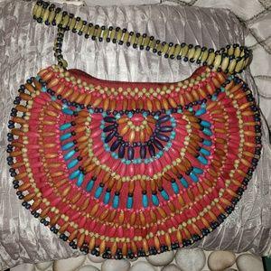 Multi Colored All Beaded Handbag Purse